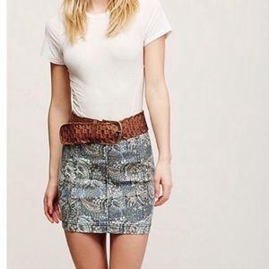 Free People Modern Femme Blue Paisley mini skirt